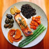 Maple salmon, vegetables and wild rice
